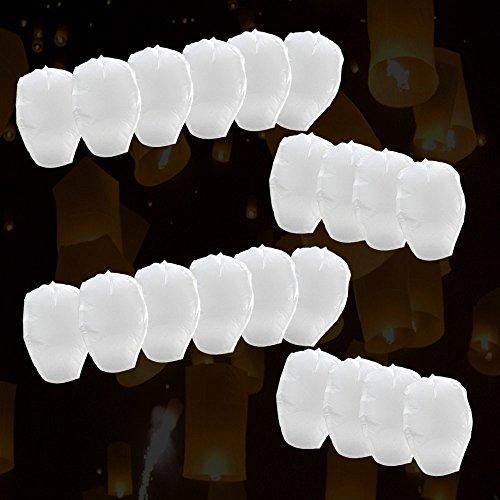 Lot de 10 pièces Lanternes celestes volantes pour fêtes et moments romantiques et magiques (Blanc)