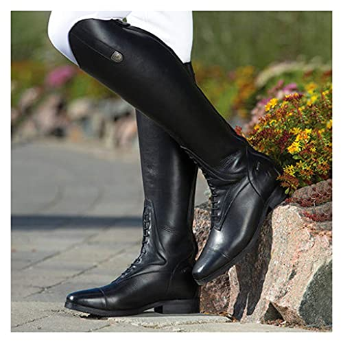 LXTIN Botas hasta la Rodilla para Hombre, Botas de Caballero para Montar, Zapatos ecuestres, Botas largas Retro con Punta Puntiaguda, Zapatos Unisex de Gran tamaño, negro-42