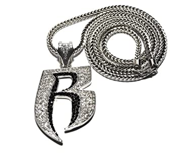 Crescendo SJ INC New Iced Out Ruff Ryders  R  Pendant 4mm&36  Franco Chain Hip Hop Necklace MP860RBK