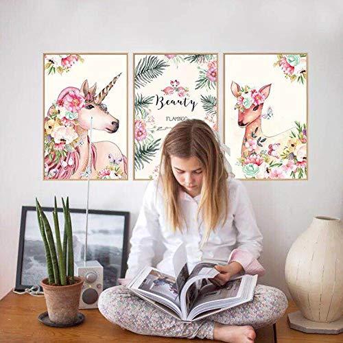Beyond Muursticker eenhoorn paard REH Muurtattoo Muurschilderingen Sticker Kamer Deko Motieven 3 delen