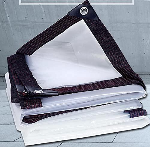 Telone impermeabile trasparente con occhielli, telo di copertura in plastica trasparente, resistente, resistente alle intemperie e agli strappi, per la protezione della casa, giardino (3 x 4 m)