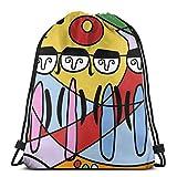 Sanme Mochila con cordón Mochila con cordón de Color Graffiti a Prueba de Agua Mochila de Senderismo para Adultos Mochila Deportiva Bolsa de Almacenamiento