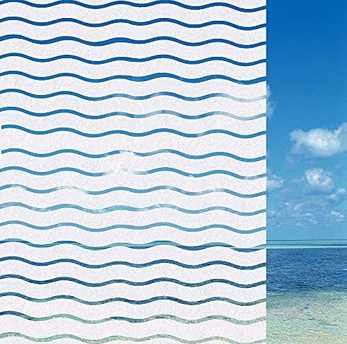 Película para Ventanas esmerilada Decorativa de Olas de mar, Pegatina para Ventanas Impermeable autoadhesiva no Adhesiva, Utilizada en hogares y oficinas E 40x200cm