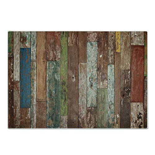 Ambesonne Rustic Cutting Board Grunge Style Planks Print Weathered Old Look Vintage Illustration Architecture Theme Decorative Tempered Glass Cutting and Serving Board Large Size Brown Pastel