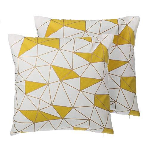 Beliani Conjunto de 2 Cojines Decorativos Amarillos 45x45 cm CLARKIA