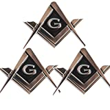 CREATRILL 3 Pack 2.75' Chrome Plated Masonic Car Emblem Mason Square and Compasses Auto Truck Motorcycle Decal Gift Accessories