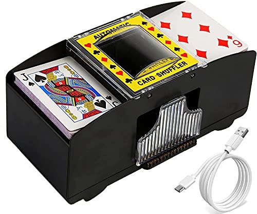 Washranp 2 in 1 Kartenmischer Elektrisch,USB-betrieben/Batteriebetrieben 2 Decks Automatische Kartenmischmaschine arbeitssparendes Poker-Karten-Shuffler für Home Party Club Bridge-Pokerspiele