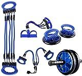YRRC 5 in 1 Fitness Ab Wheel Abdominal- Rad-Rolle Griff Pull Seil Fußpedal Set Home Gym Ganzkörpertraining Training Set