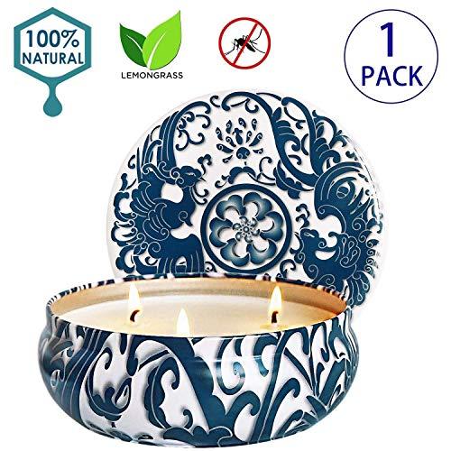 Citronella Kaars - Geurkaars 500g Grote 100% Soy Wax, for Indoor Outdoor Garden Camping 3 Wicks