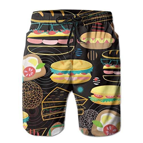 EU Herren Pommes Frites Burger Food Gourmet World Summer Beach Shorts Hose mit Mesh-Futter Taschen für Herren L.