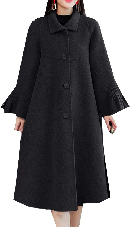 Tootca Women Woolen Button Poncho Trench Jacket Fashion Overcoat Outwear