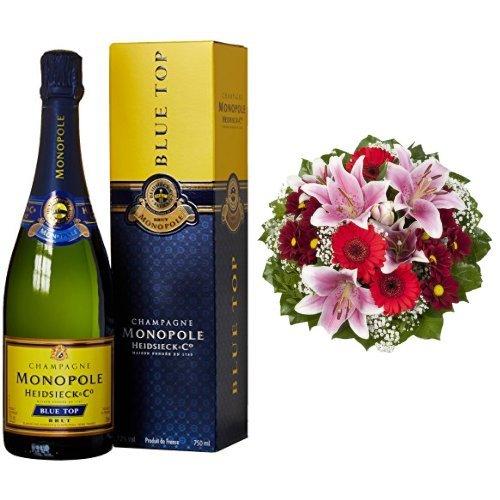 Monopole Heidsieck Blue Top Brut Champagner + Blumenstrauß Charlotte mit rosa Lilien