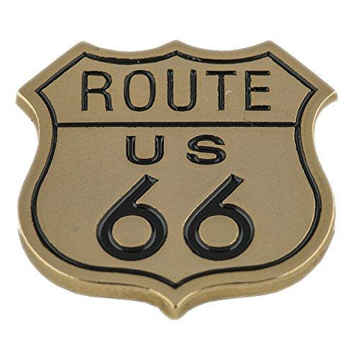 hegibaer Goldfarbener Route 66 Mother Road US Biker USA Metall Pin Button Anstecker 0718