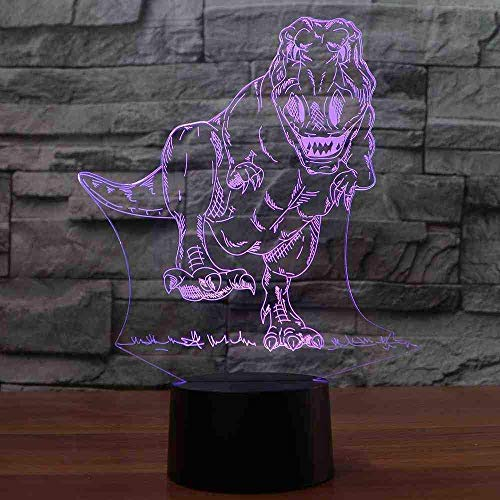7 Dégradés Colorés 3D Led Forme De Dinosaure Lampe De Bureau Luminaire Créatif Luminaire Enfants Sommeil Nuit Lumière Chevet Décor Cadeau