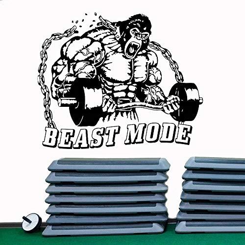 Gimnasio etiqueta de la pared material patrón de la bestia fitness deportes vinilo tatuajes de pared gimnasio hombre cueva art deco etiqueta de la pared