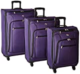 American Tourister AT Pops Plus Softside 3-Piece Spinner Wheel Luggage Set, Purple