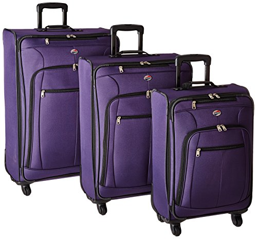 American Tourister AT Pops Plus Softside 3-Piece Spinner Wheel Luggage Set, Purple, (21/25/29)