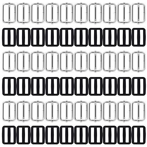 Afunta Tri-Glides Schiebers, 2,5 cm, Metall und Kunststoff, rechteckig, verstellbare Gurtband-Verschlüsse, Gurte, Rucksack, Gürtel, Koffer, DIY-Zubehör, Schwarz und Silber, 60 Stück
