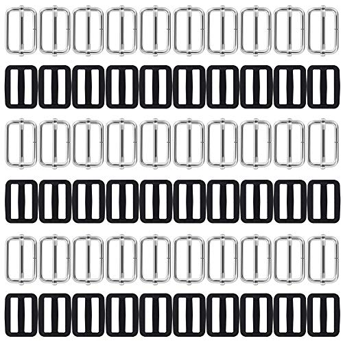 60 Stks 1 inch Tri-Glides Slide, AFUNTA Metaal & Plastic Rechthoek Verstelbare Webbing Slider Fasteners Band Rugzak Riem koffer DIY Accessoires - Zwart & Zilver