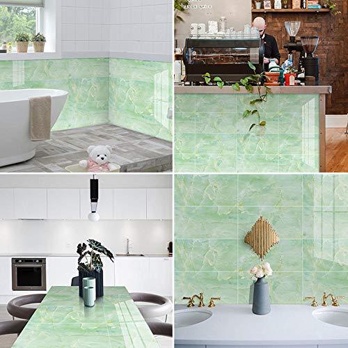 QAZN 30x60cm Marmor Stil Boden Wandfliesen Aufkleber für Wohnzimmer Küche Badezimmer wasserdichte Tapete Peel and Stick Fliesen Aufkleber Wanddekoration Grün-8 STK