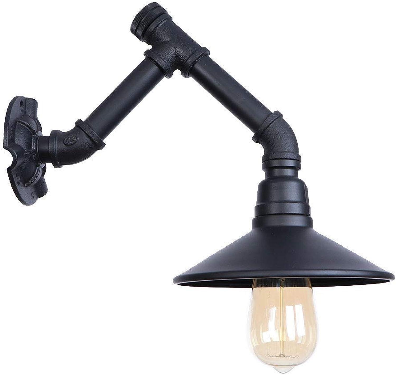 HBLJ  Retro Wasserpfeife Eisen Kunst Schwarz Wandleuchten Retro E27 Edison Glühbirne Knopfschalter Wandleuchte Kreativ für Restaurant Gang Schlafzimmer Nachttischlampe Dekoration Beleuchtung Lampe