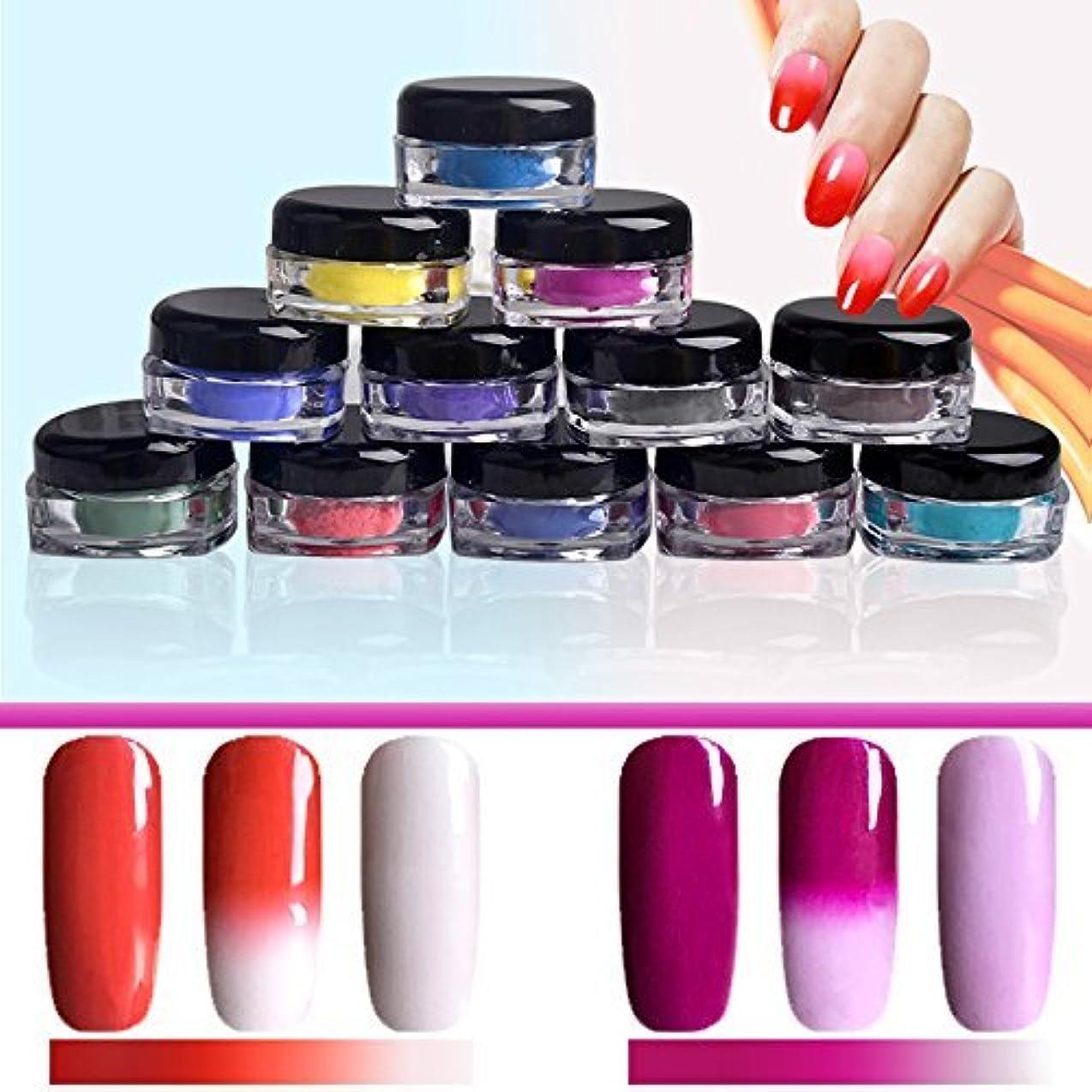顔料ために国籍12ボックス 温度によって色が変わるパウダー 変色 ネイルグリッター グラスネイルデコ ジェルネイル ネイルパウダー 2g [並行輸入品]