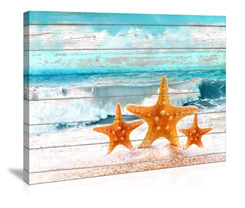Bathroom Wall Art Board Beach Sea Starfish Wall Decor Bedroom Decor Prints Canvas Wall Art Ocean Decor Small Framed Artwork for Walls Modern Paintings on Canvas Prints (Starfish, 12x16inch)