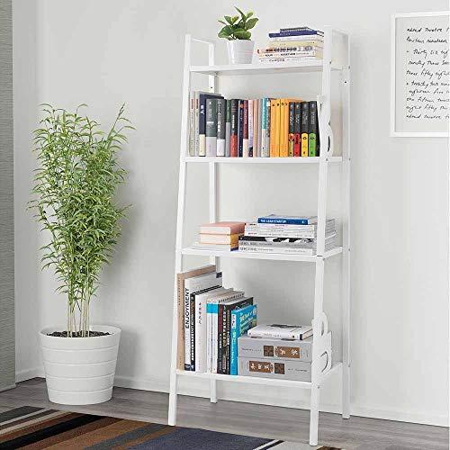 4 Tier Bookshelf,Wall Bookshelves Leaning Ladder Bookshelf Metal Book Rack Narrow Shelving Unit Entryway Cabinet Organizer Display Home Furniture