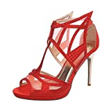 Ital-Design High Heel Sandaletten Damen-Schuhe Pfennig-/Stilettoabsatz Heels Schnalle Sandalen & Rot, Gr 37, Gh-263-