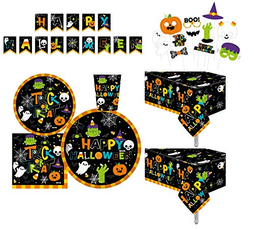 Serves 30 | Complete Party Pack | Cute Halloween Monsters and Ghosts | 9' Dinner Paper Plates | 7' Dessert Paper Plates | 9 oz Cups | 3 Ply Napkins | 2 Table Cover | Halloween Banner | Halloween Party Decorations Halloween Party Theme