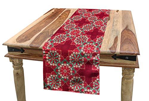 ABAKUHAUS Mandala Camino de Mesa, Adornos Populares Redondas, Decorativo para el Comedor o Sala de Estar Estampa Digital, 40 x 225 cm, Rosa Seafoam Melocoton