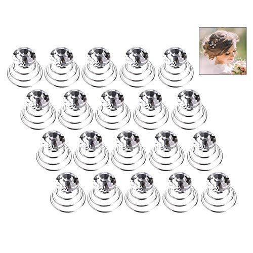 iwobi 20 Stück Kristall Spirale Haarnadel, Spiral Haarspiralen Haarspange, Hochzeit Braut Curlies Haarschmuck Haarklammer