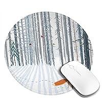 マウスパッド 森の冬 マウスパッド 丸型 20cm 滑り止め 防水 おしゃれ 洗える ビジネス用 家庭用 ゲーム用