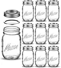 Regular-Mouth Glass Mason Jars, 16-Ounce Glass Canning Jars with Silver Metal Airtight Lids and Bands with Measurement Marks, for Canning, Preserving, Meal Prep, Overnight Oats, Jam, Jelly, (10 Pack)