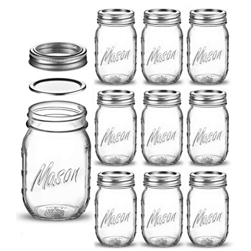 Regular Mouth Glass Mason Jars, 16 Ounce (10 Pack) Glass Canning Jars with Silver Metal Airtight Lids and Bands with Measurement Marks, for Canning, Preserving, Meal Prep, Overnight Oats, Jam, Jelly,