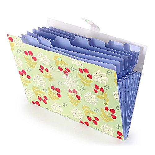 BTSKY ファイルケース ドキュメントファイル a4 8ポケット 持ち運び プラスチック オシャレ 可愛い花柄 インデックス付き 資料 分類収納 書類整理 ファイルケース 学校 オフィス(グリーン)