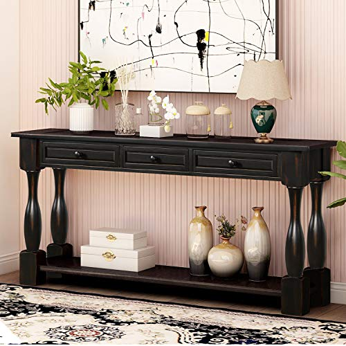 "P PURLOVE Console Table for Entryway 64"" Wood Sofa Table with Storage Drawers and Bottom Shelf for Hallway Living Room (Antique Black)"