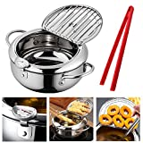Hvanam Deep Fryer Pot With Oil Drop Tray Basket And Oil Thermometer Japanese-Style Tempura Non-Stick...