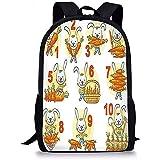 Hui-Shop Mochilas Escolares Matemáticas Decoración del Aula, Conejo y Sus Zanahorias Coloridos Dibujos Animados Divertidos con números Set Niños Niñas