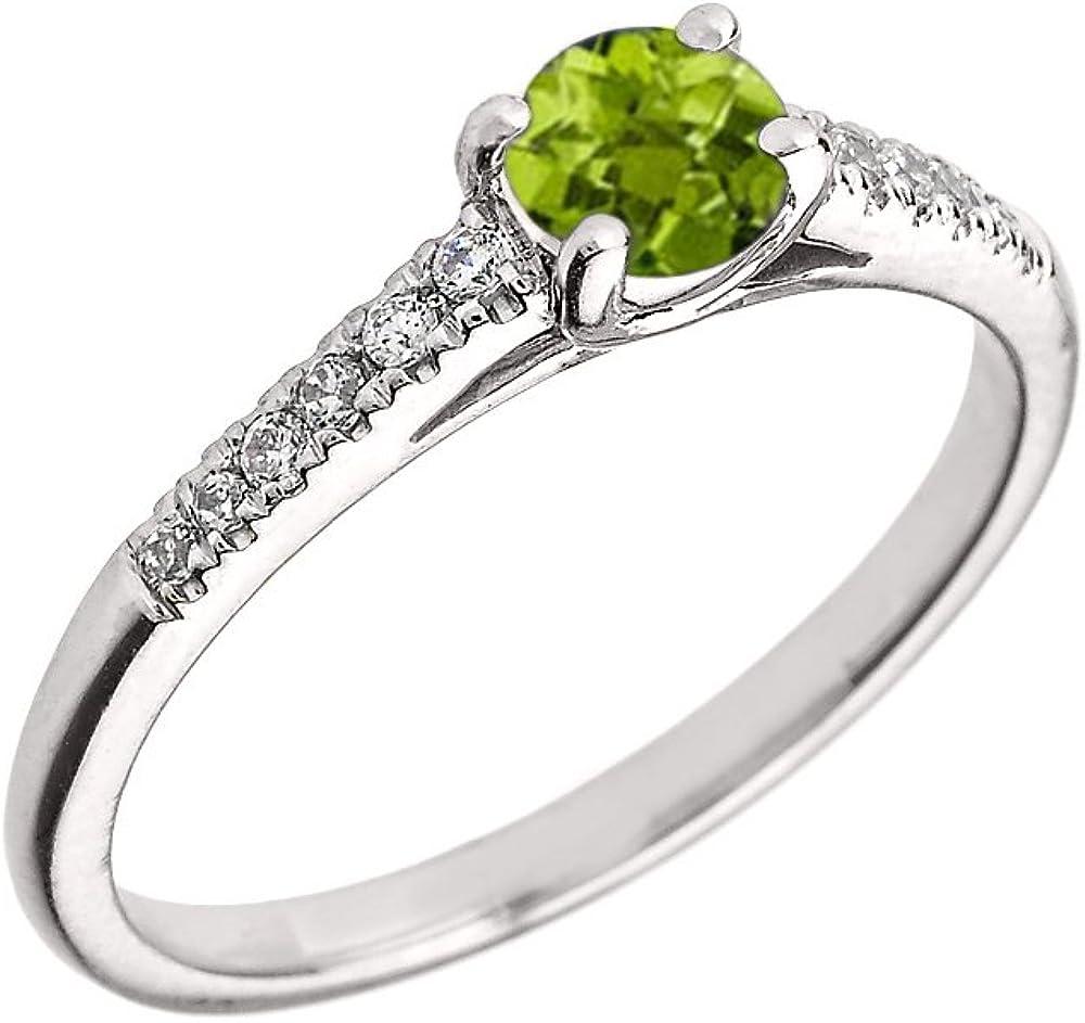 10K White Gold Diamond and Genuine Peridot Engagement Proposal Ring