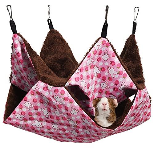 MQUPIN Hamaca para Mascotas, 2 Capas Hamster Hamaca Animales Pequeño con 4 Ganchos, Hamaca pequeña para Mascotas cálida Cama Colgante para Hurones/Ardillas/Otros Animales pequeños (Rosa)
