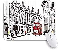 PATINISAマウスパッド パリの黒と白のアートシティストリートバス ゲーミング オフィス最適 高級感 おしゃれ 防水 耐久性が良い 滑り止めゴム底 ゲーミングなど適用 マウス 用ノートブックコンピュータマウスマット