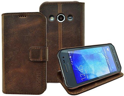 Samsung Galaxy Xcover 3 (SM-G388F) - Suncase Book-Style (Slim-Fit) Leren tasje Leren tasje Telefoonhoesje Beschermhoesje Case Hoesje (met standaardfunctie en kaartenvak), Antiek koffie