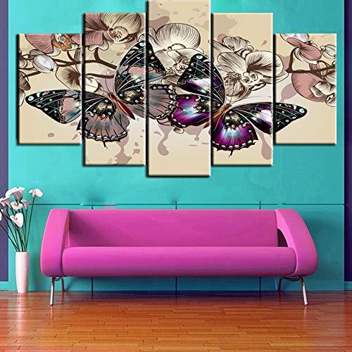 5 Panel Wall Art schilderij, gekleurde vlinders vliegen tussen de bloemen Hd Prints, kamer Home Decoration Wall Art Home, decoratie cadeau stuk,Without frame,20x30/40/50cm