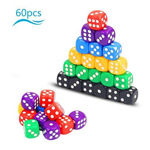 KATOOM 60er Würfelset D6 Dice Set Bunt Würfel Farbig Spielwürfel Punkte Würfel für Brettspiel Kartenspiel Tenzi Ligretto