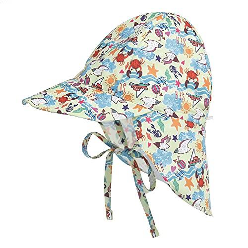 IDGREATIM Cappello da Sole per Bambini Cappello da Pescatore con Protezione UV per Bambini con Cravatte e Protezione per Il Collo Cappello Estivo per Nuoto all'aperto, Viaggi, Spiaggia