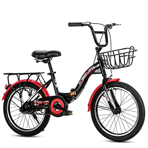 gxj Bicicleta Plegable Liviana, Velocidad única Y Frenos de Disco Doble Bici Plegable para Hombres Y Adolescentes Urbana Bicicleta, Negro(Size:22 Inch)