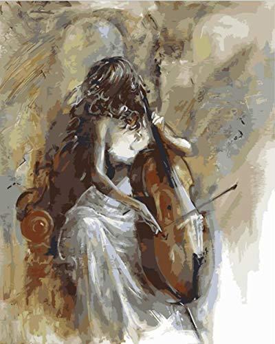 FGHJSF Pintar por Numeros Niña sin Rostro Lienzo Pintura al óleo para Adultos y Niños DIY Pintura al Óleo por Números Decoración del Hogar - 40 x 50 cm (Sin Marco)