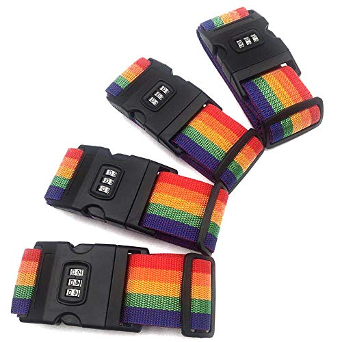 Suitcase Luggage Straps - 4 Pack Adjustable Rainbow Luggage Packing Belt with Password Lock Clip