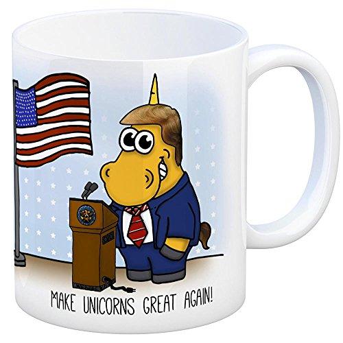 Honeycorns Kaffeebecher mit Einhorn Motiv und Spruch: Make Unicorns Great Again! Tasse Kaffeetasse Becher Mug Teetasse Büro Präsident USA United States of America Mogul Unicorn Einhorngeschenk